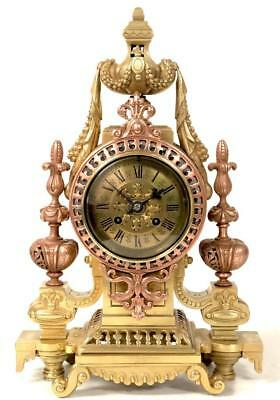 Superb Antique French 8 Day Pierced Embossed Bronze Ormolu Mantel Clock Wow