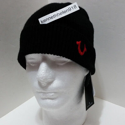 True Religion Mens Ribbed Knit Watchcap Beanie Hat Black True Red One Size b30d00bd5cb1