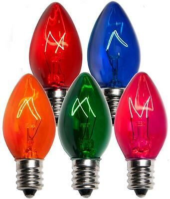 Box of 50 C7 Multicolor Triple Dipped Transparent Christmas Bulbs