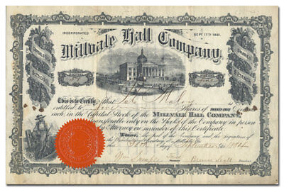 Millvale Hall Company Stock Certificate (Pittsburgh Area, 1884)