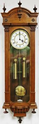 Vintage Twin Weight Carved Walnut Vienna Wall Clock German 8 Day By Hermle C1980