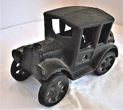 Vintage Cast Iron Model T Ford Coupe Toy Car Black 6 Inches