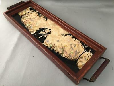 Antique Vtg Wood & Reverse Painted Glass Silhouette Victorian Couple Tray