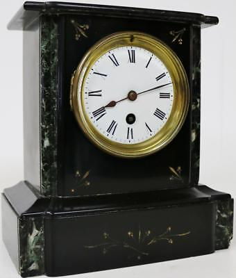 Beautiful Antique Polished Slate French 8 Day  Black Marble Mantel Desk Clock