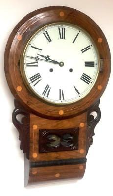 Anglo/American Antique 8 Day Inlaid Mahogany Drop Dial Wall Clock C1880
