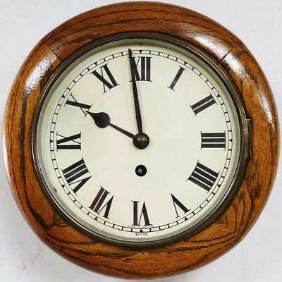 Tiger Oak 8 Inch Dial Antique English Fusee Dial Station Public Wall Dial Clock