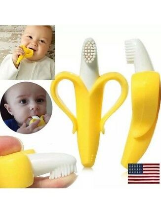 Banana Toothbrush Teether Silicone FRUIT for Baby Infant Training Pacifier  USA