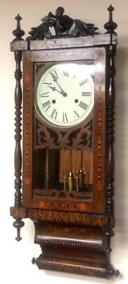 Early Marquetry Inlaid Carved Striking Wall Clock E Parry Drop Dial Wall Clock