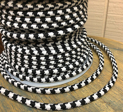 Black & White Cloth Covered 3-Wire Round Cord, Large Houndstooth Cotton Pattern