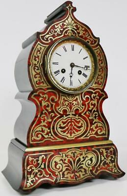 Original Antique French Inlaid Boulle Shell & Brass 8 Day Striking Mantel Clock