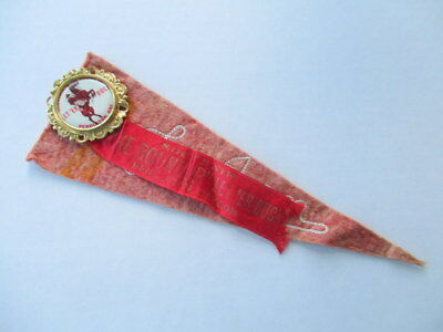 Vintage Pendleton Roundup ! Let 'er Buck BUTTON & RIBBON 1950's RODEO Souvenir