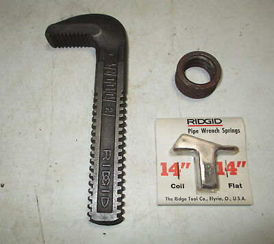 "New Ridgid 14"" Pipe Wrench Hook Jaw 31655 - Nut 31665 & Spring Set 31660"