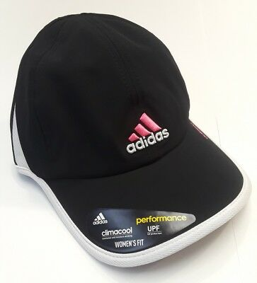 533c59f1f8a NEW adidas Women s Climacool Adizero II Cap Hat BLACK WHITE PINK Performance