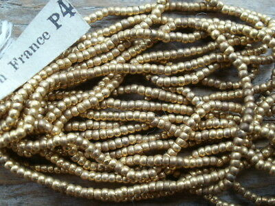 Antique French Steel Cut Bead Hank Brass Metal Round New Dead Stock Rare Vintage
