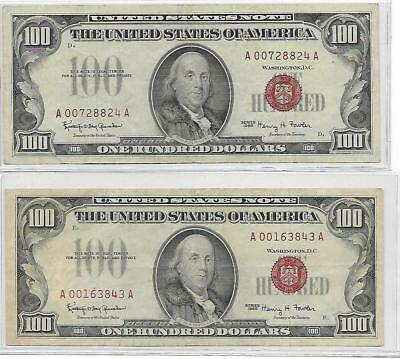 2- 1966 $100 Legal Tender Note Rare Red Seals ~ PROBLEM FREE!!!! ~ 2 NOTES !!!