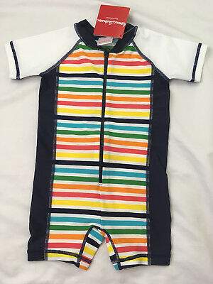 Hanna Andersson Baby Rash Guard Suit Multi Rainbow Stripe Size 80 18-24 NWT