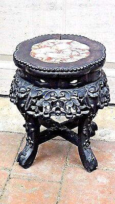ANTIQUE19c CHINESE ROSEWOOD CARVED MARBLE TOP SIDE TABLE,PLANT STAND