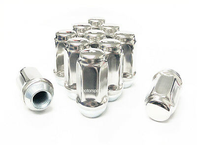 "(10) STAINLESS STEEL LUG NUTS 14x1.5 OEM FACTORY 22MM HEX 2"" LONG FORD GM DODGE"