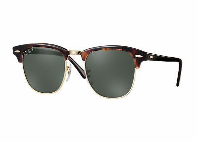 RayBan Clubmaster Classic POLARIZED Sunglasses Tortoise Green Classic 3016 49-21