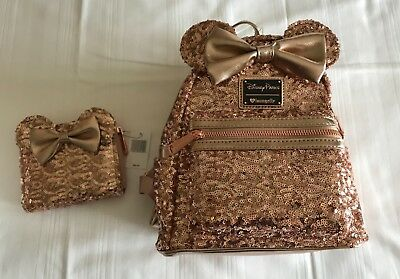SOLD OUT Disney Parks Minnie Mouse Rose Gold Loungefly Backpack and Wallet  NEW aab9a8e9a0