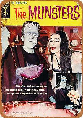"""7"""" x 10"""" Metal Sign - 1965 The Munsters Comic - Vintage Look Repro"""