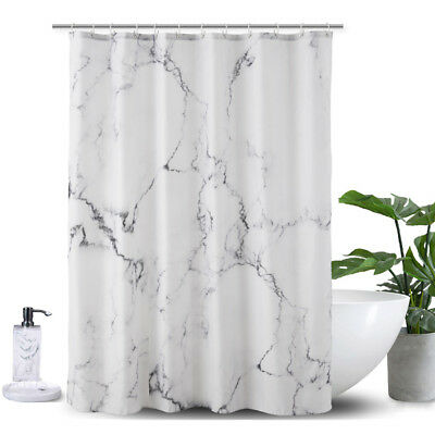 Marble 180*180/200cm Shower Curtain Waterproof Polyester 12 Hooks Bathroom