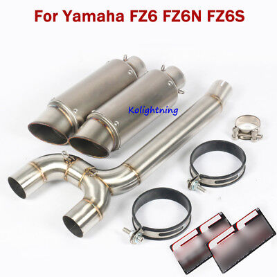 For Yamaha FZ6 FZ6N FZ6S Exhaust System Pipe Slip On Mid Connect Tube Motorcycle