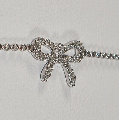 Diamond Bow Bracelet In 14k White Gold With Adjule Chain