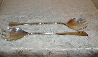 "Pair of Italian Vintage Silver Plated Large Forks - 9.5"" Long - Beautiful"