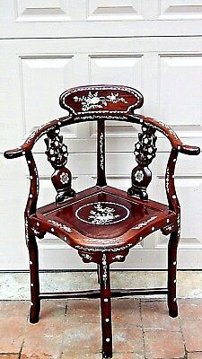 Antique Chinese Rosewood Ornate Carved Mothr-Of-Pearl Mop Inlaid Corner Armchair