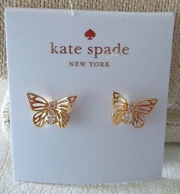 d88054f02 NWT Kate Spade Social Butterfly Gorgeous Gold Plated, Clear Stones Stud  Earrings