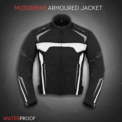 Men Motorcycle Motorbike Waterproof Textile Cordura Jacket Coat Black CE Armours