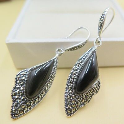 db41195f1 Natural Black Agate with Solid 925 Sterling Silver Wing Design Dangle  Earrings