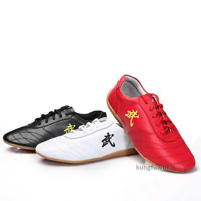 2018 Soft Cow Leather Kung fu Tai chi Shoes Martial arts Wushu Sports Sneakers
