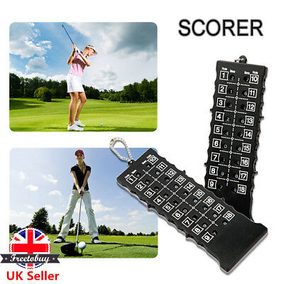 18 Holes Golf Stroke Putt Score Card Counter Indicator with Key Chain Black New