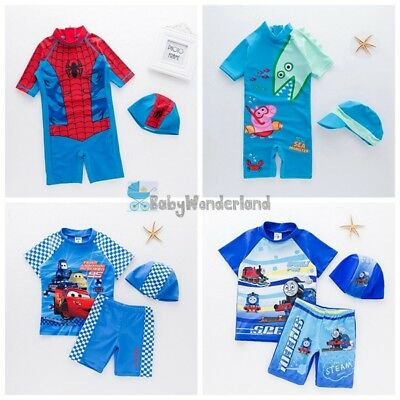 Boys Spiderman Mcqueen Car Peppa Pig Thomas Swimwear Set Swimsuit size 1-6Years