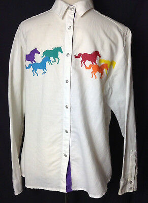 vintage Wrangler blues Cowgirl rainbow pony Horses mustang Pearl Snap Shirt M