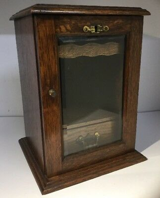 Antique Victorian Oak Smokers Cabinet with Bevelled Glass Lock / Drawers / Rack