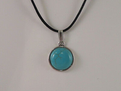 Pendant Necklace - Turquoise round on Black Necklace 20mm  JoMacDesigns