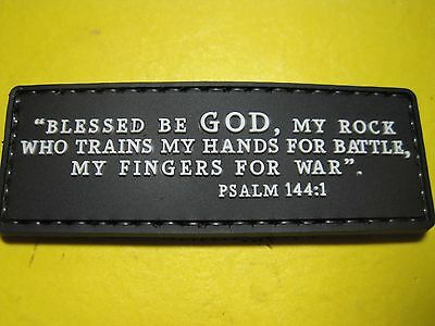 """Psalm 144:1 Tactical Morale Patch """"blessed Be God My Rock"""" Pvc With Hook Back!"""