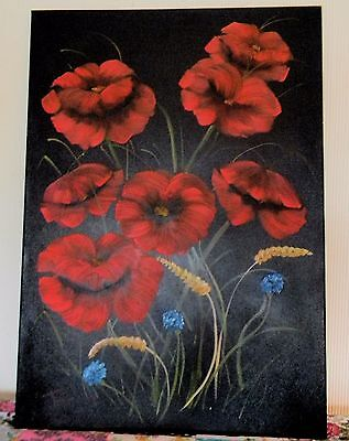 Large Original Poppy and corn flower art oil and acrylic painting on canvas