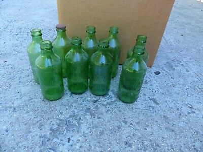 10 - (Ten) Mountain Dew Bottles - Green Glass 10 Oz