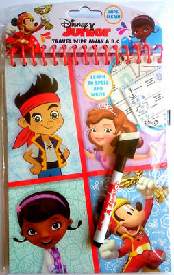 DISNEY Junior Wipe Away Clean TRAVEL Book with PEN Learn Spell & Write NEW