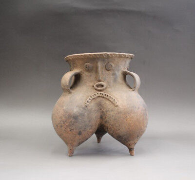 Ancient Neolithic Hongshan Culture Human face Three feet pottery pot tank
