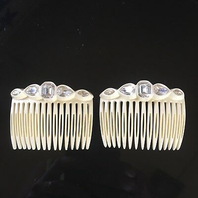 Vintage Pair Cream Rhinestone Hair Combs France Plastic Retro Bride Accessory