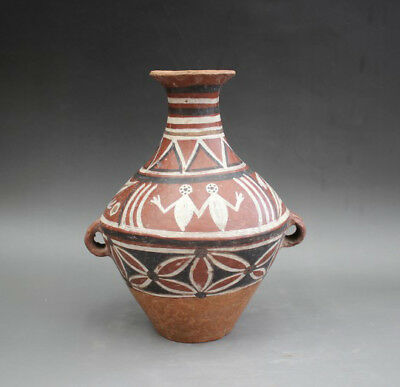 Ancient Neolithic Hongshan Culture Red pottery Zun pot tank