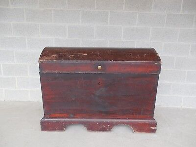 """Antique 1700's Immigrant Blanket Storage Trunk Chest 48""""W x 36""""H"""