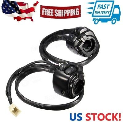 Pair 1inch 25mm Motorcycle Handlebar Control Switch Housing Wiring Harness for