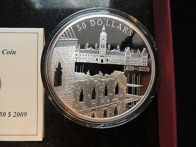 2009 Canada 50$ Fine 5 Oz Silver Coin Parliament Construction 150Th Anniversary