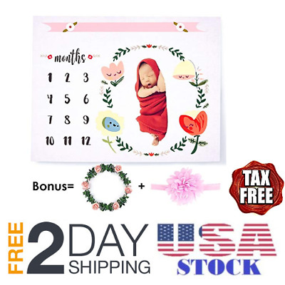 Milestone Blanket,Cute Soft Baby Monthly Old Picture Blanket Photo for Newborn